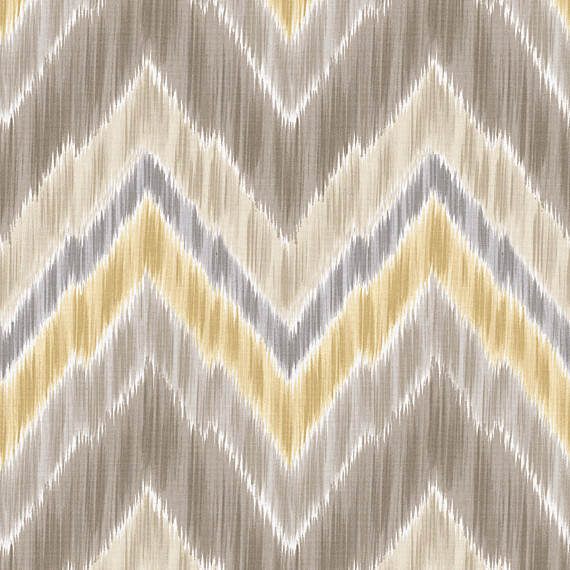 Gray and Yellow Large Ikat Chevron Sateen Fabric - Contemporary ...