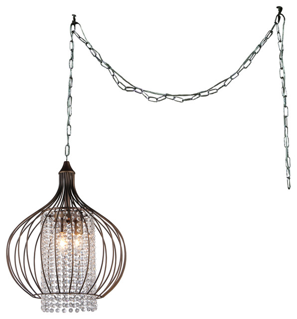 "Warehouse Of Tiffany Fannie 3 Light Crystal 15"" Bronze Swag Lamp."