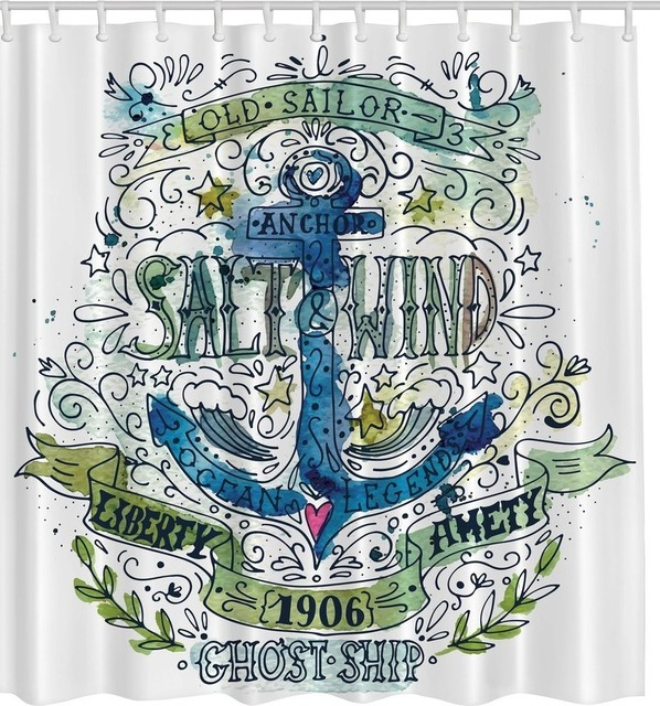 Blue Green Nautical Vintage Style Anchor Fabric Shower Curtain