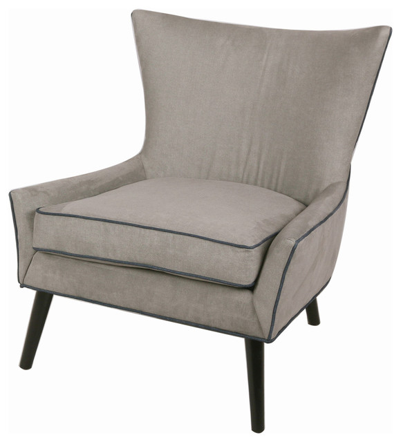 Zara Chair With Black Legs, Gray Denim
