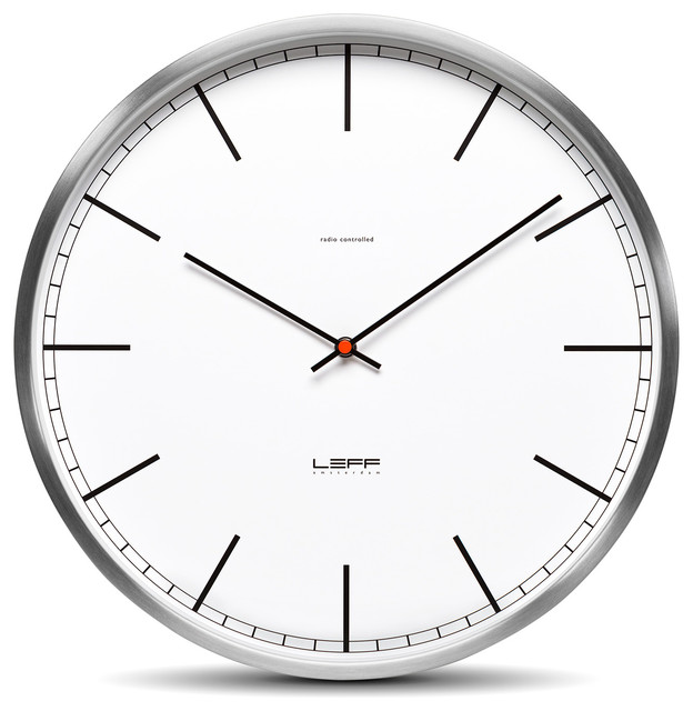 wall clock one35 stainless steel white index wall clocks by midec brands llc. Black Bedroom Furniture Sets. Home Design Ideas