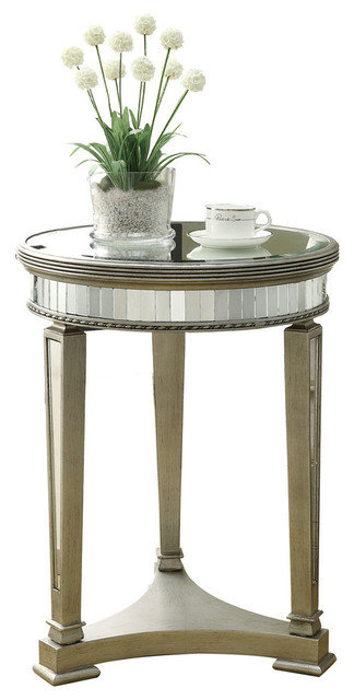 Accent Table, Brushed Silver, Mirror Transitional Side Tables And End