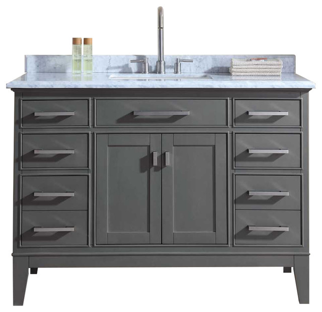 Ari kitchen bath danny single bathroom vanity set maple gray 48 bathroom vanities and for Single sink consoles bathroom