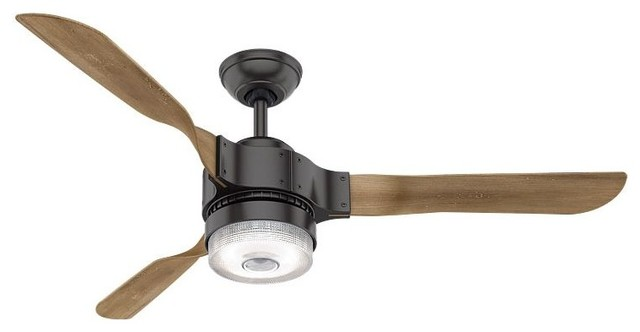 """Hunterapache 54"""" 3 Blade Integrated Led Ceiling Fan, Noble Bronze."""