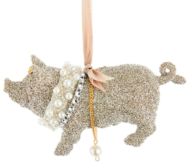 vintage look glamour platinum glitter pig christmas holiday ornament