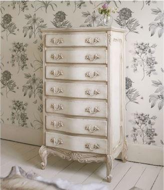 Delphine Shabby Chic Antique White Tallboyshabby Style Bedroom Sus