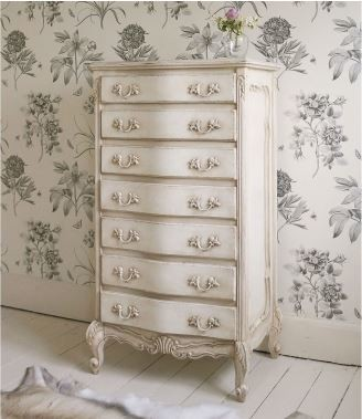 Delphine Shabby Chic Antique White Tallboy Style Bedroom