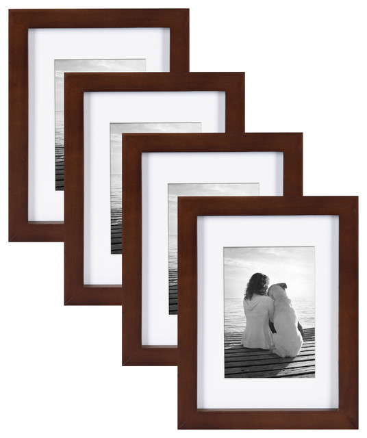 """Gallery Wood Picture Frame, Set of 4, Walnut Brown, 5""""x7"""""""