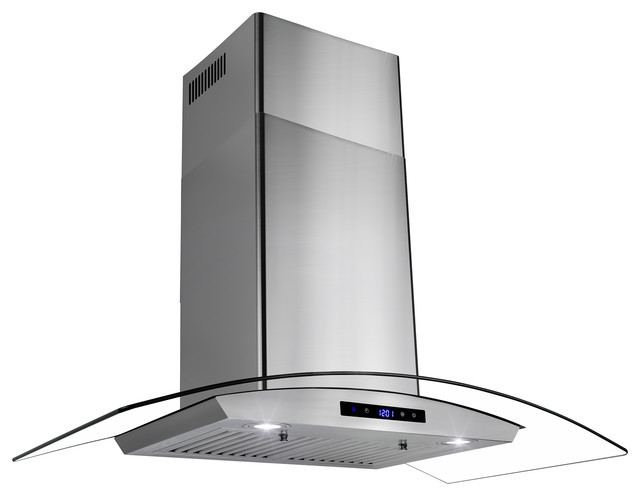 "Akdy 36"" Stainless Steel Wall Mount Range Hood With Tempered Glass Touch Panel,"