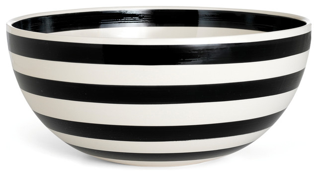Stripes Bowl Black And White Large Contemporary
