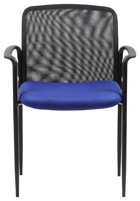 Boss Stackable Mesh Guest Chair, Blue Contemporary Office Chairs