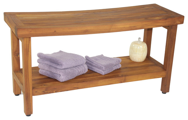 36 Optiarea Teak Shower Bench With Shelf From The Sumba Collection