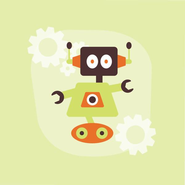 Homeworks Etc Lime Green Robot Canvas Wall Art, orange - Modern ...