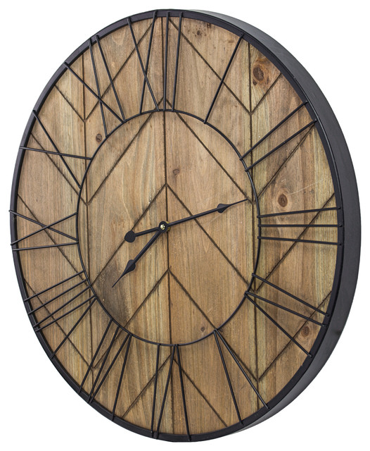 Rustic Wood And Metal Oversized Wall Clock 24 Industrial Wall Clocks By American Art Decor Inc Houzz
