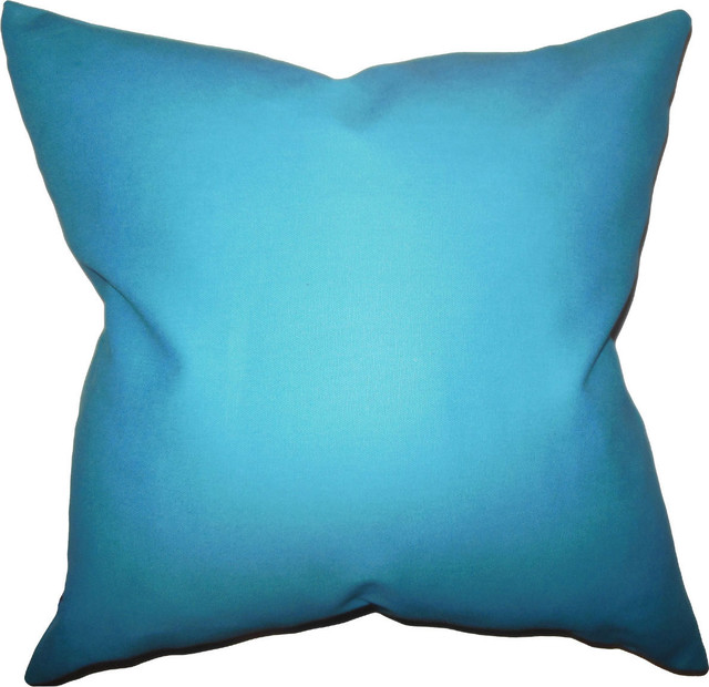 Blue Down Throw Pillows : The Pillow Collection - Kalindi Solid, Down Feather Filler Pillow, Aqua Blue, 20