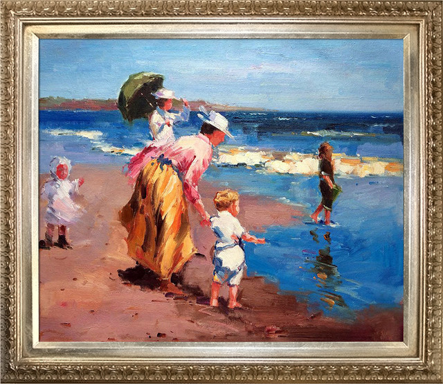 "Potthast ""at The Beach"" Oil Painting, Elegant Champagne Frame 20""x24""."