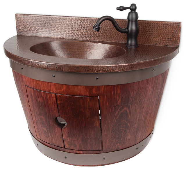 Wall mounted wine barrel vanity and faucet package for Bathroom vanity packages
