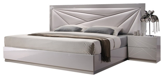 Florence White & Light GReay Lacquer Finish Queen Size Bedroom Set ...