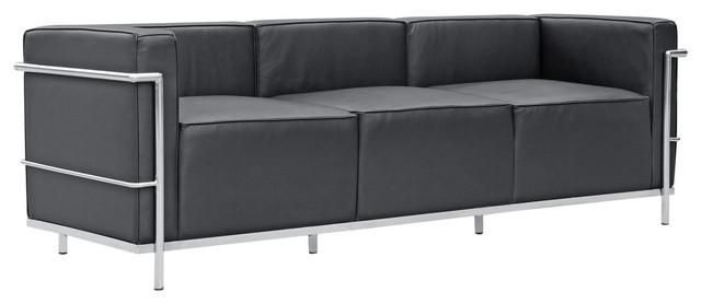 Modern Contemporary Urban Design Living Lounge Room Sofa, Black, Leather