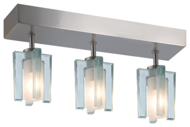 Akina 3-Light Ceiling Mount, Satin Nickel/clear-Frosted.