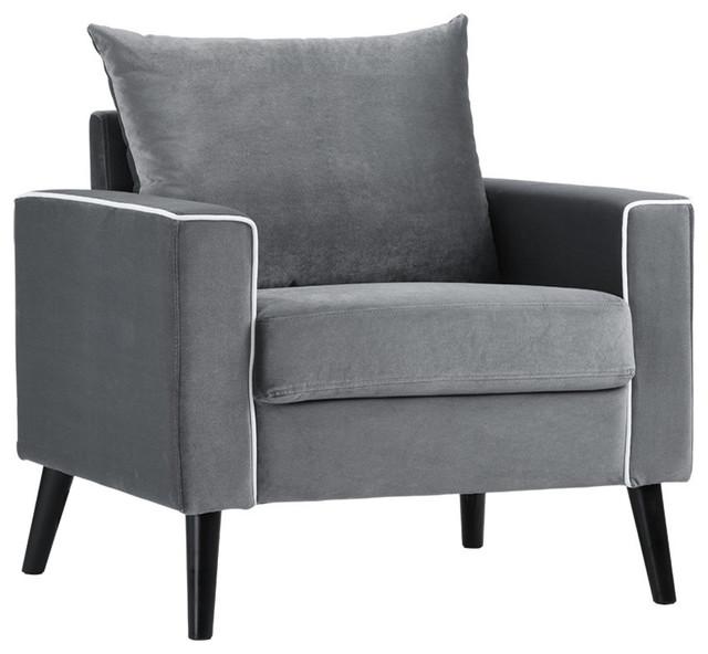 Mid-Century Modern Velvet Fabric Armchair Living Room ...