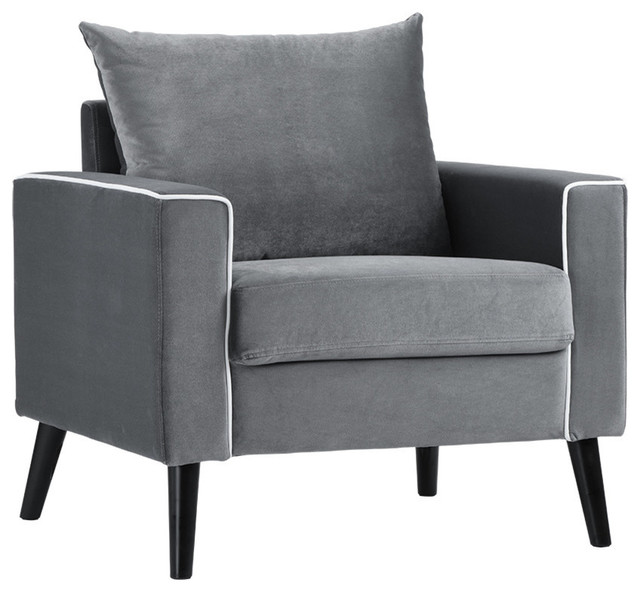 Mid-Century Modern Velvet Fabric Armchair Living Room Accent Chair, Dark  Gray