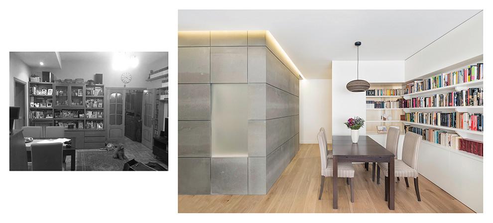 Vista del salón 02, antes y después