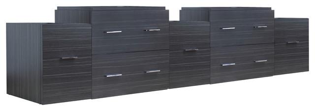 Dawn Gray Modern Wall Mount Plywood-Melamine Vanity Base Only.