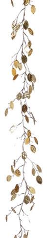 Silk Plants Direct Silver Dollar Leaf Garland, Set Of 6, Gold.