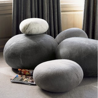 Felted Wool Stones eclectic-footstools-and-ottomans