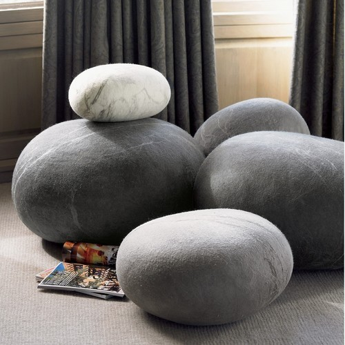 Felted Wool Stones eclectic ottomans and cubes