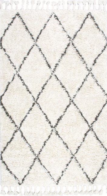 Hand Knotted Geometric Diamond Wool Shag Rug, Natural, 8'x10'