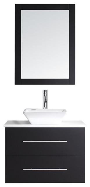 """Virtu Marsala 29"""" Single Bathroom Vanity, Espresso With Faucet And Mirror."""