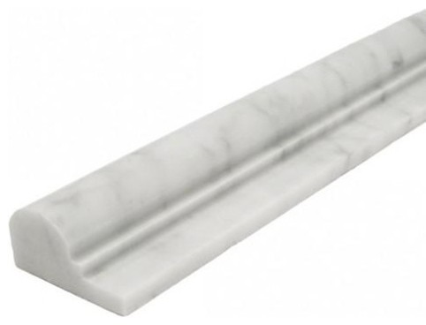 2 X12 Carrara Milano White Crown Mercer Molding Trim Polished Traditional Accent And Border Tile By Merakigroup