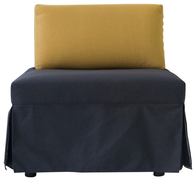 Sleeper Chair with Pull Out Mattress, Yellow by Pezzan USA