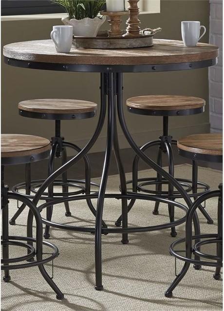 Liberty Furniture Vintage Metal Pub Table, Weathered Gray And Black.