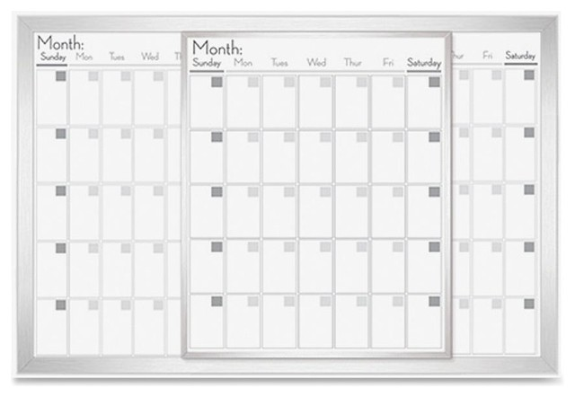 Lorell Magnetic Dry Erase Calendar Board 36 W X 24 H Frost Frame