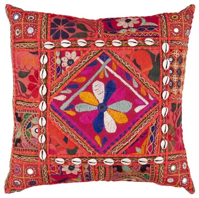Red And Orange Decorative Pillows : Surya Karma Poly Fill 18