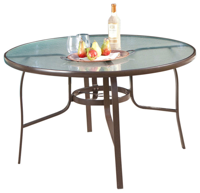 FastFurnishings 48 Round Glass Top Outdoor Patio Dining Table With Umbr