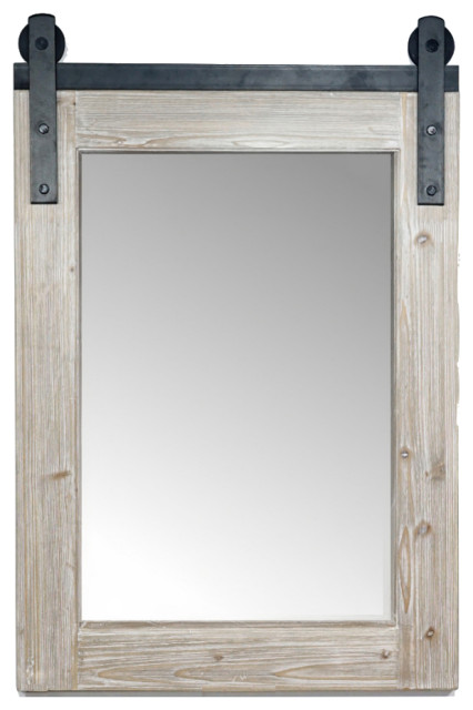 Rustic Solid Fir Barn Door Style Mirror 26 6 X39 Farmhouse Bathroom Mirrors By Infurniture Inc