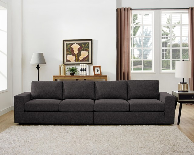 Jules 4 Seater Sofa In Dark Gray Linen - Contemporary - Sofas - By Lilola Home