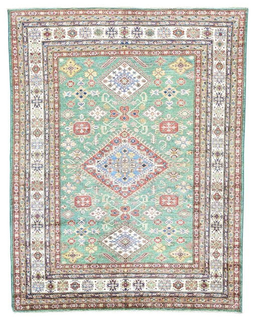 Handmade pure wool tribal and geometric design super kazak for Geometric print area rugs