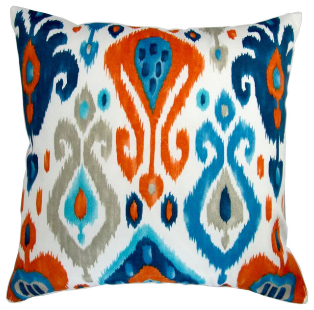 18 Outdoor Modern Colorful Orange Blue Grey Ikat Geometric Set Of 2 Mediterranean Cushions And Pillows By