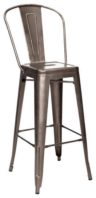 Tolix Style Rustic Matte Steel High Back Bar Stools 30