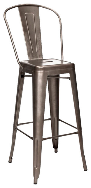 Tolix Style Rustic Matte Steel High Back Bar Stools 30