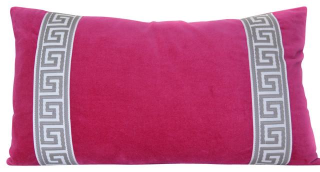 Pink Lumbar Pillow Cover Fuchsia Velvet Pillow With