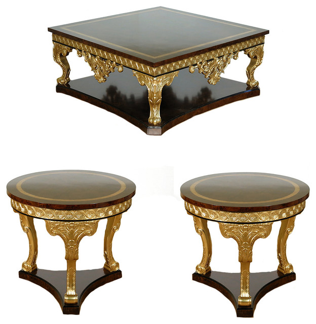Dark Burl Gold French Style Ornate Inlaid Coffee Table 3 Piece Set F 1201 56 Victorian Sets By Mbw Furniture