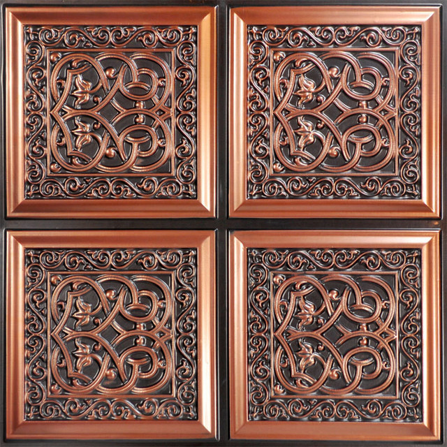 Lover S Knot Faux Tin Ceiling Tile Glue Up 24 X24 231 Traditional By Decorative Tiles Inc
