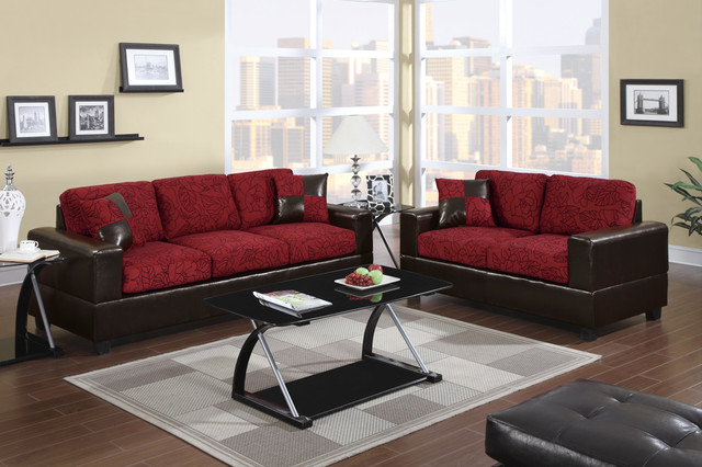 Modern Red Floral Fabric Sofa Couch Loveseat Living Room