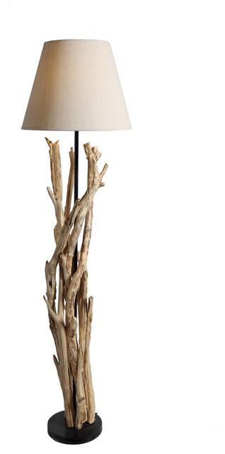 Bell shade artistic driftwood handcrafted floor lamp for 4 legged wooden floor lamp